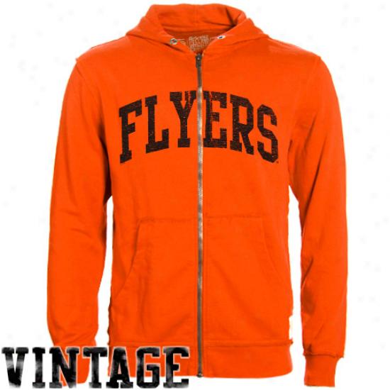 Original Retro Brand Philadelphia Flyers Orange Raw Edge Full Zip Hoodie Sweatshirt