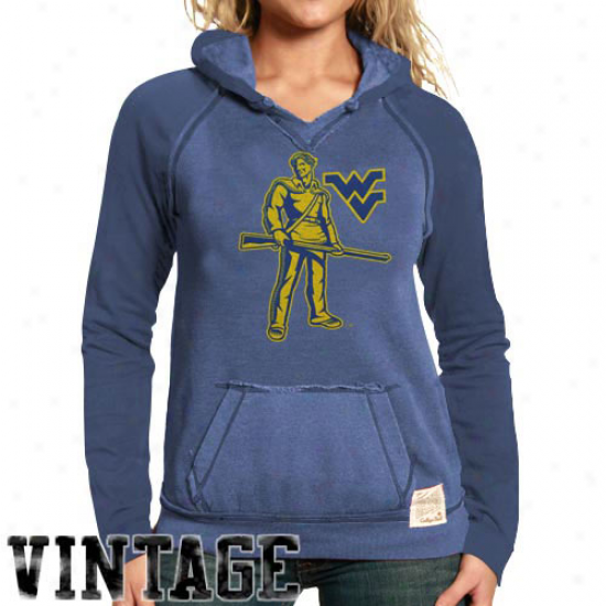 Original Retr oBrand West Virginia Mountaineers Ladies Navy Blue 2-toned Heathered Hodoy Sweatshirt