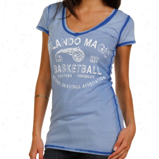 Orlando Magic Ladies Seam Wash Premium V-neck T-shirt - Royal Blue