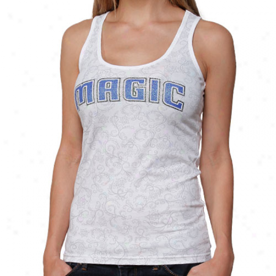 Orlando Magic Ladies White Metallic Swirl Rhinestone Tank Top