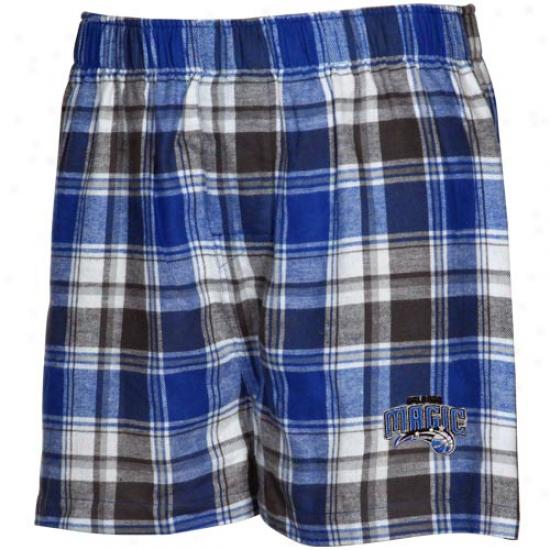 Orlando Magic Royal Blue-gray Plaid Legend Flannel Boxer Shorts