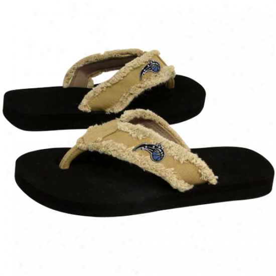 Orlando Magic Unisex Khaki Frayed Flip Flops