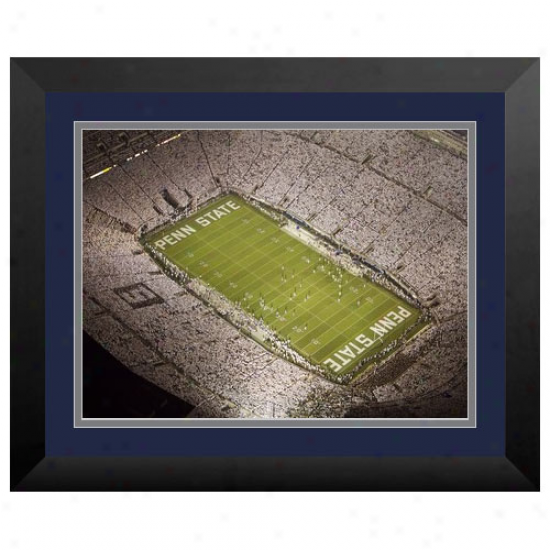 Penn National Nittany Lions 9'' X 12'' Framed White Night Stadium Print