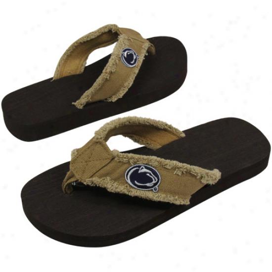 Penn State Nittany Lions Unisex Frayed Khaki Flip Flops