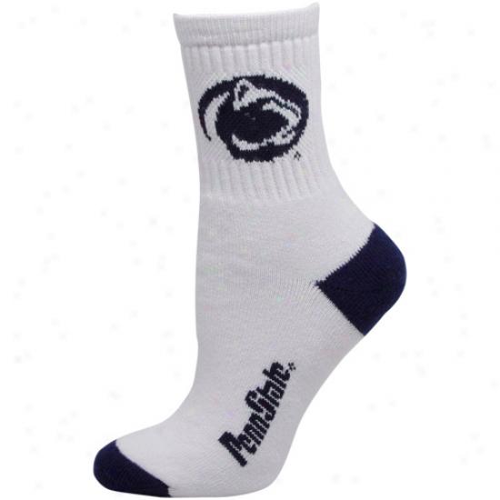 Penn State Nitfany Lions Wpmens Dual-color Team Logo Crew Socks - White