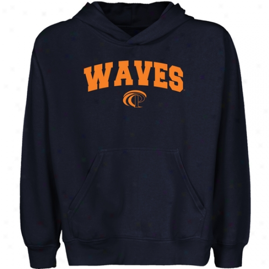 Pepperdine Waves Youth Navy Blue Logo Arch Pullover Hoody