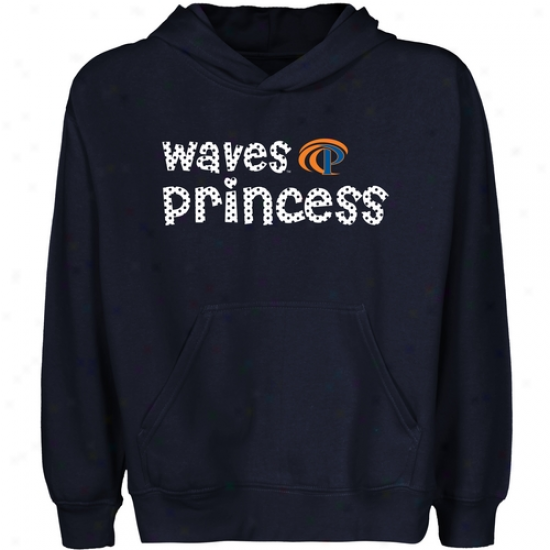 Pepperdine Waves Juvenility Princess Pullover Hoodie - Navy Blue