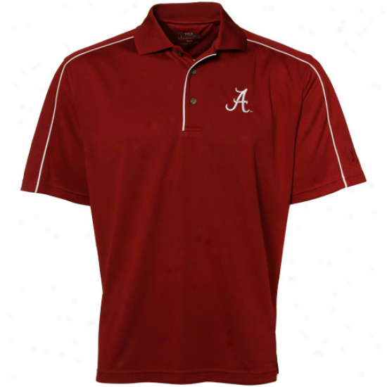 Pga Tour Alabama Crimson Tide Crimson Piped Polo