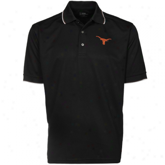 Pga Tour TexasL onghorns Black Tipped Polo