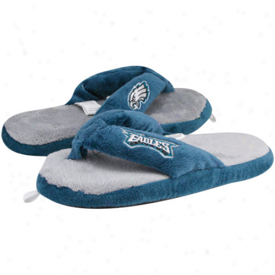 Philadelphia Eagles Ladies Blue-gray Plush Thong Slippers