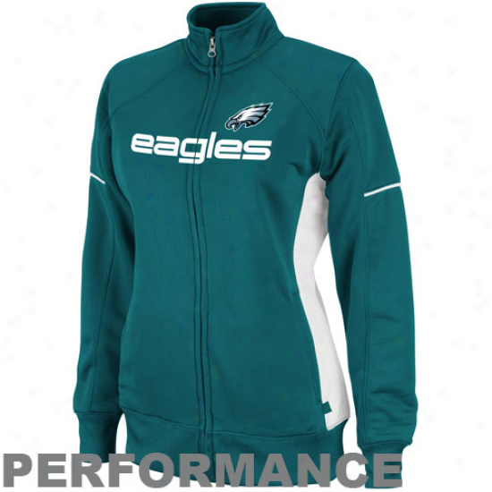 Philadelphia Eagles Ladies Midnght Green Counter Track Full Zip Performance Jacket