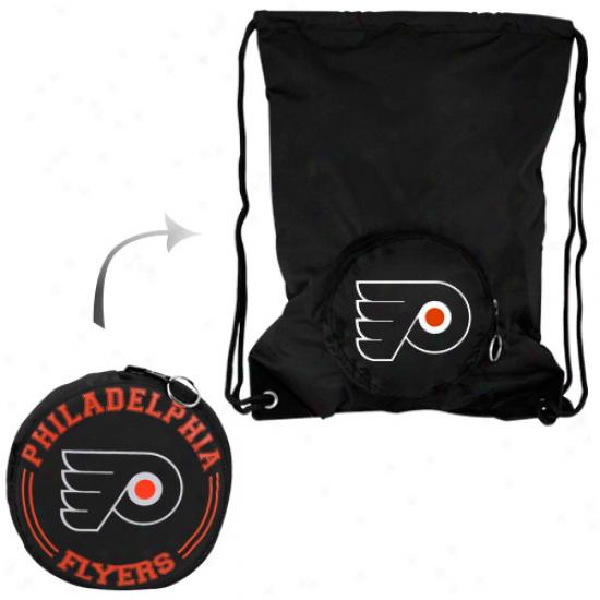 Philadelphia Flyers Tuck-away Collapsible Backsack - Black
