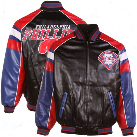 Philadelphia Phillies Black Pelather Varqity Full Zip Jacket -