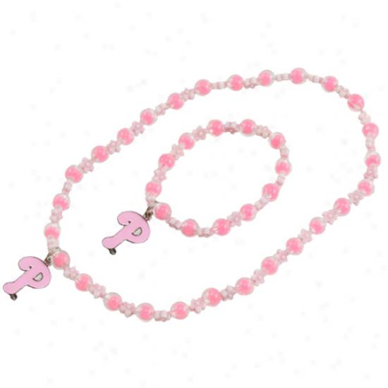 Phiiadelphia Phillies Girls Pink oSphie Beaded Team Logo Bracelet & Necklace Set
