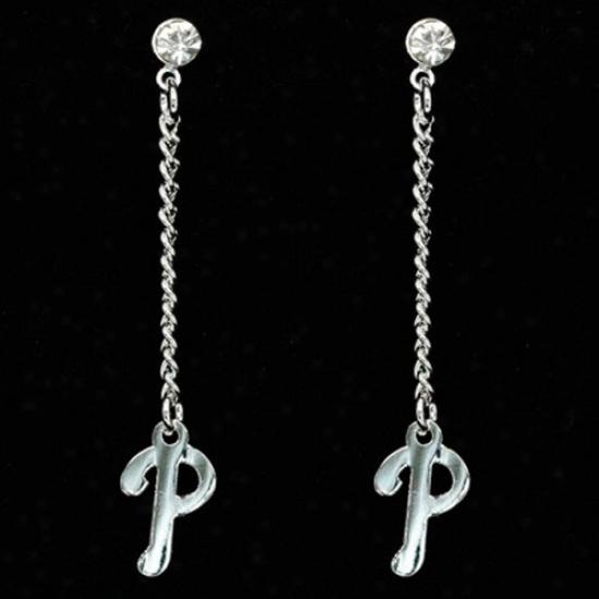 Philadelphia Phillies Ladies Silvertone Dangle Charm Post Earrings