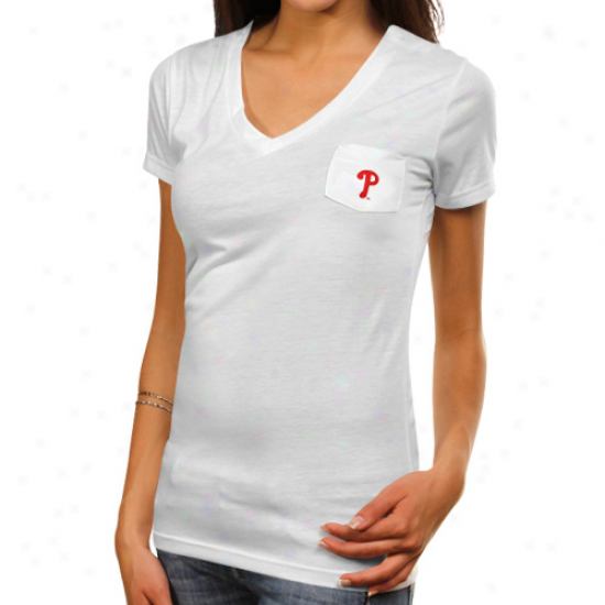 Philadelphia Phillies Ladies Spectrum Tri-blend V-neck T-shirt - White