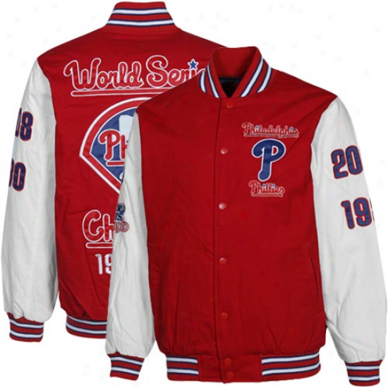 Philadelphia Phillies Red-white 2x Wirld Series Champs Commemorative Cotton Canvas Full Button Jacket