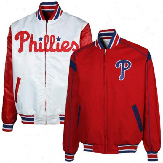 Philadelphia Phillies Red-white Reversible Team Varsity Full Zip Jacket