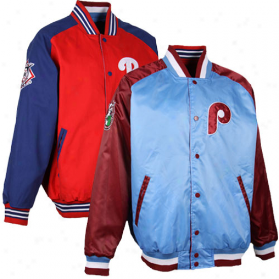 Philsdelphia Phillies Retro To Current Reversible Jacket - Light Blue/red