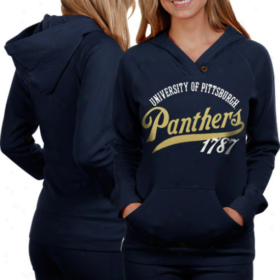 Pittsburgh Panthers Ladies Navy Pedantic  Far Out Pullover Hoodie Sweatshirt