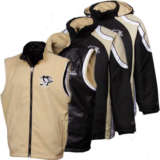 Pittsburgh Penguins Black-gold 4-in-1 Systems Full Zip Reversible Jacket