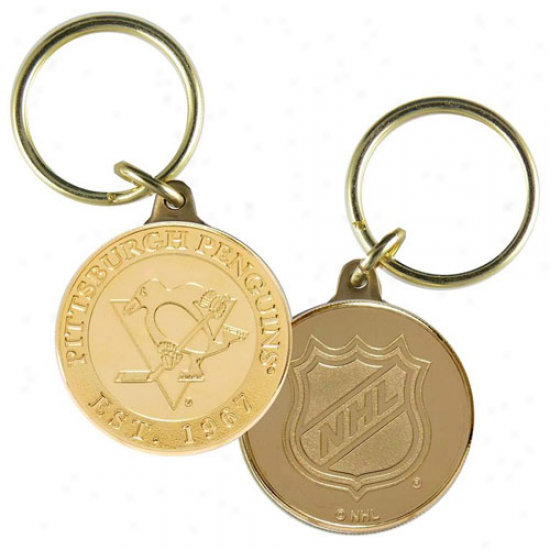 Pittsburgh Penguins Bronze Coin Keychain