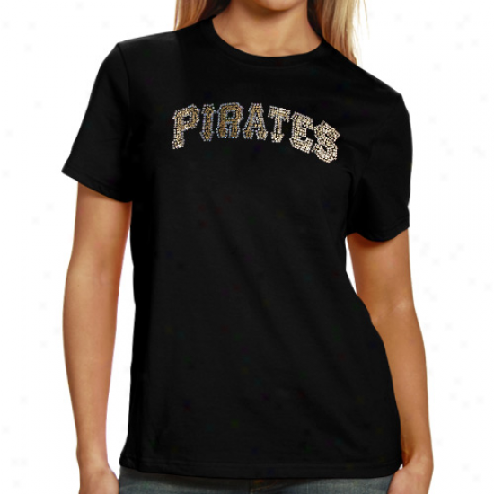Pittsburgh Pirates Ladies Sequin Jersey Logo Premium T-shirt - Black