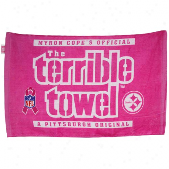 """pittsburgh Steelers 25"""" X 16"""" Pink Breast Cancer Awareness Mrron Cope Terrible Towel"""