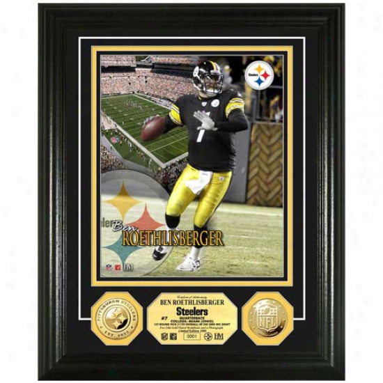 Pittsbu5gh Steelers #7 Ben Roetjlisberger 24kt Gold Coin Player Photomint