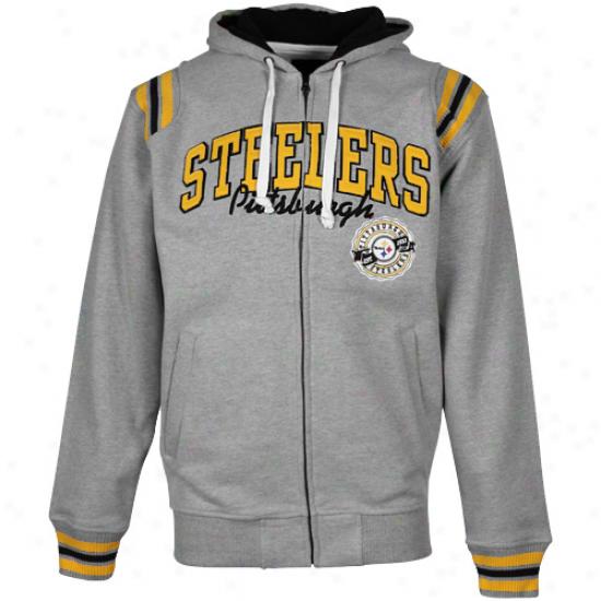 Pittsburgh Steelers Ash Knockout Full Zip Hoodie Sweatshirt