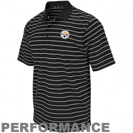 Pittsburgh Steelers Black Fanfare Iii Striped Performance Polo