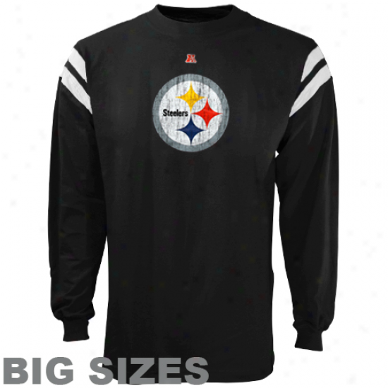 Pittsburgh Steelers End Of The Line Iii Big Sizes Long Sleeve Reward T-shirt  -Black