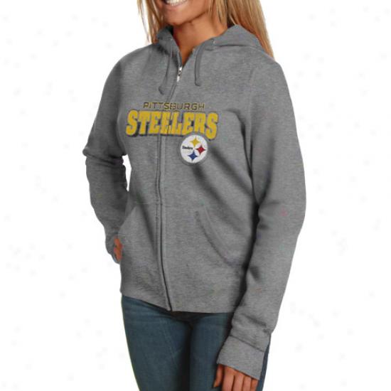 Pittsburgh Steelers Ladies Ash Football Classic Iii Fuuil Zip Hoodie Sweatshirt