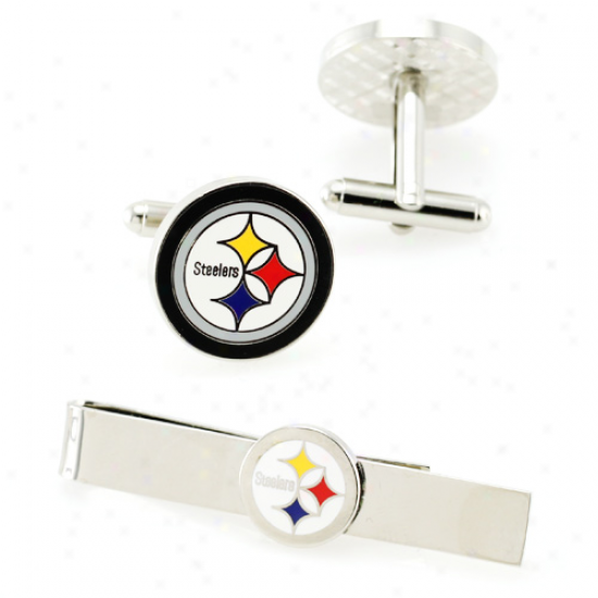 Pittsburgh Steelers Silvertone Team Logo Tie Shearing & Cufflinks Set