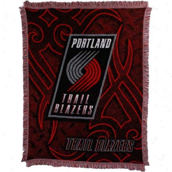 Portland Trail Blazers 48'' X 60'' Red Tattoo Jacquard Woven Blanket Throw