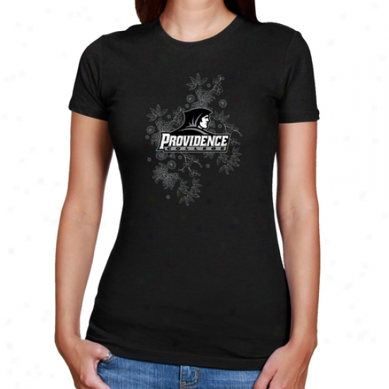 Providence Friars Ladies Black Cascadign Flowers Slim Fit T-shirt