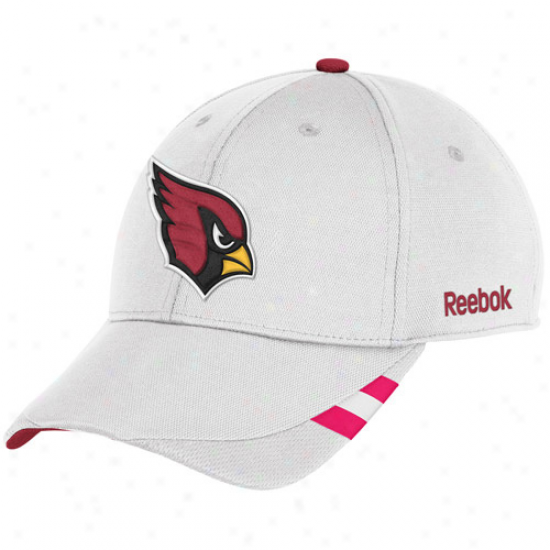 Reebok Arizona Cardinals White Bresat Cancer Awareness Coaches Sideline Adjustable Hat