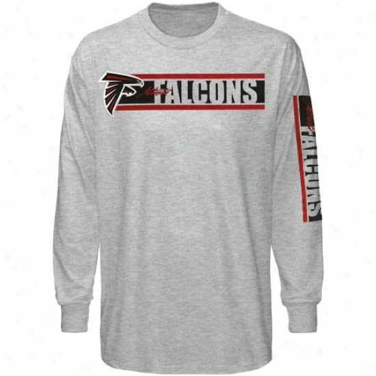 Reebok Atlanta Falcons Ash The Stripes Long Sleeve T-shirt