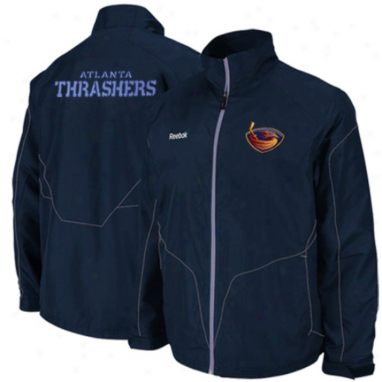 Reebok Atlanta Thrashers Navy Blue Center Ice Full Zipp Jacket