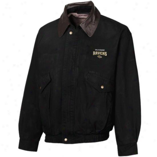 Reebok Baltimorr Ravens Black Navigator Cotton Canvas Full Zip Jacket