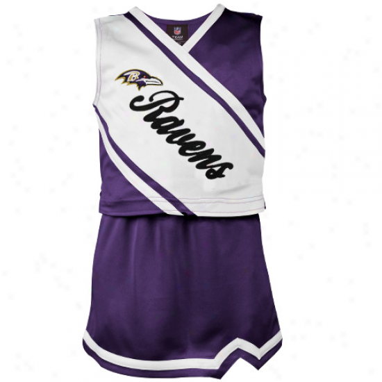 Reebok Baltimore Ravens Toddler Girls Purple-white 2-piece Sleeveless Cheerleader Dress Set