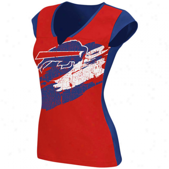Reebok Buffalo Bills Ladieess Face Paint Premium Split Neck T-shirt - Red-royal Blue