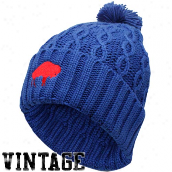 Reebok Buffalo Bills Ladies Imperial Blue Retro Cuffed Pom Cable Kniy Beanie