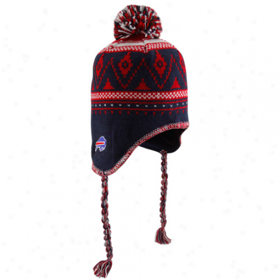 Reebok Buffalo Bills Navy Blue Braided Ziggy Pom Knit Beanie