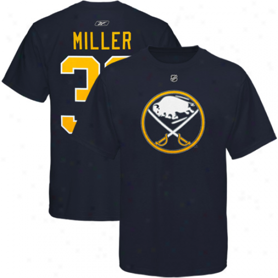 Reebok Buffalo Sabres #30 Ryan Miller Naavy Blue Player T-shirt