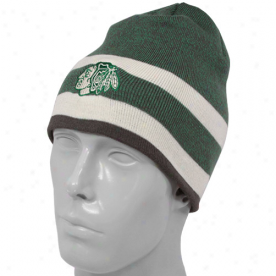 Reebok Chicago Blackhawks Kelly Green-natural St. Patrick's Day Cuffless Knit Beanie