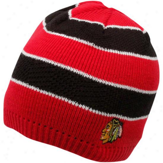 Reebok Chicago Blackhawks Ladies Black-red Striped Knit Beanie