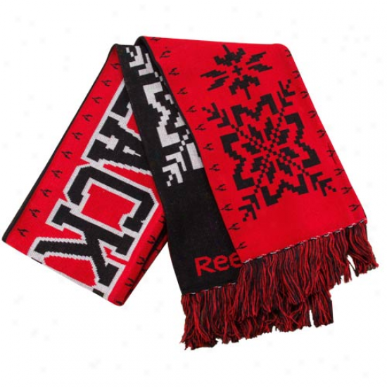 Reebok Chicago Blackhaawks Red-black Team Snowflake Reversible Scarf