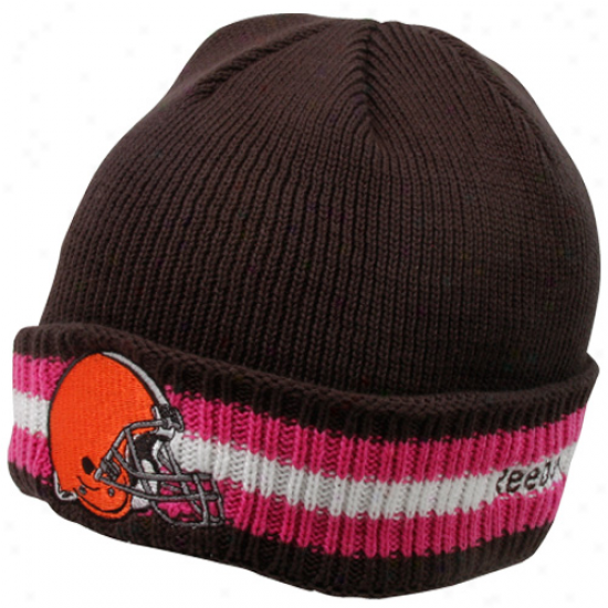 Reebok Cleveland Browns Brown Breast Cancer Awareness Coaches Sideline Cuffed Beanie