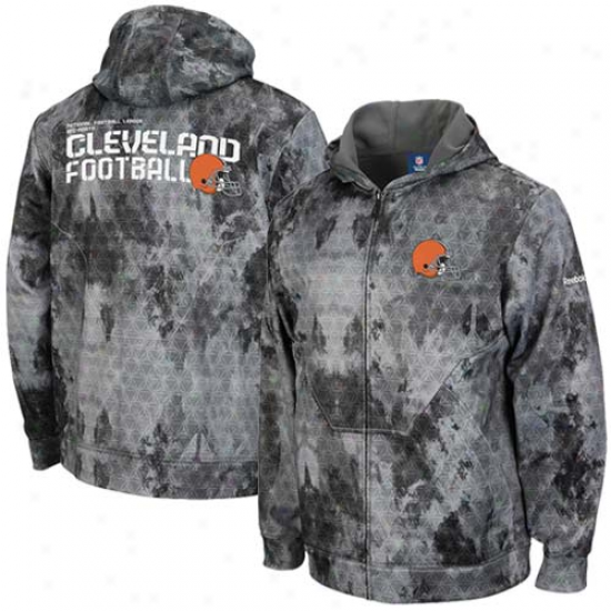 Reebok Cleveland Browns Gray Camo Sideline United Digital Print Full Zip Hoody Sweatshirt